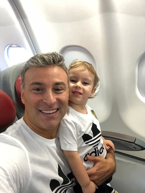 Dad and Toddler on Airplane