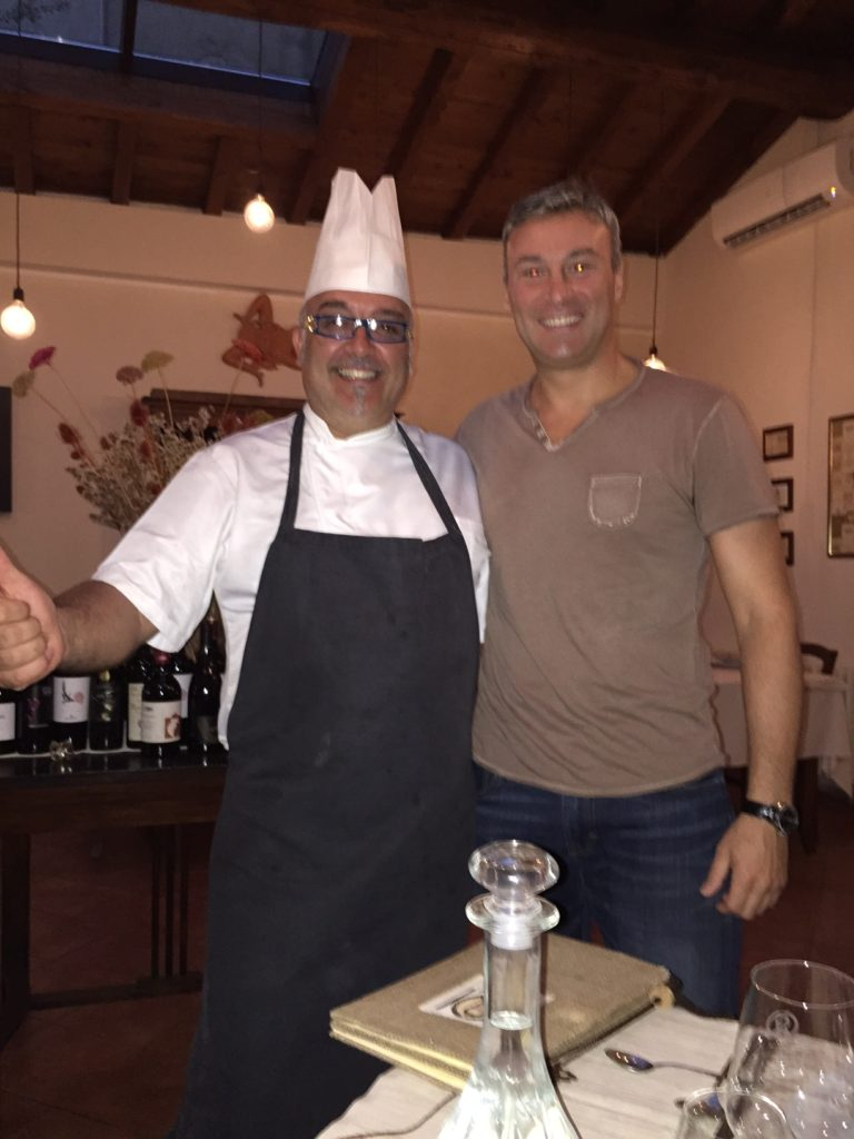 With restaurant owner, Carlo Lo Grande, Lucca, Italy, August 30, 2015